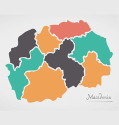 Macedonia map with states and modern round shapes vector