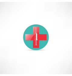 Medical syringe and cross vector image
