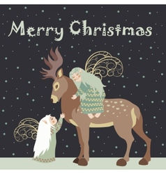 Two angel hug reindeer vector image