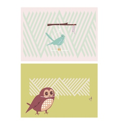 Creative cards with birds vector