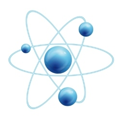 Atom symbol with a globe vector