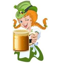 Red haired girl leprechaun holding a glass beer vector