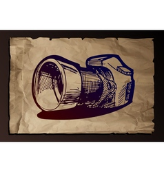 Camera on old paper background vector
