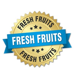 Fresh fruits 3d gold badge with blue ribbon vector