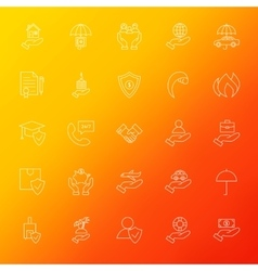Insurance services line icons set blur vector