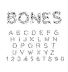 bones alphabet letters anatomy skeleton font vector image