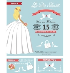 Bridal shower template setlovely bride vector