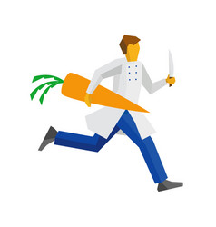 Chef runs with knife and giant carrot vector
