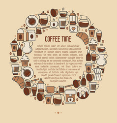 Coffee time concept in circle with thin line icons vector