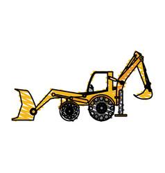 color crayon stripe industrial machine excavator vector image
