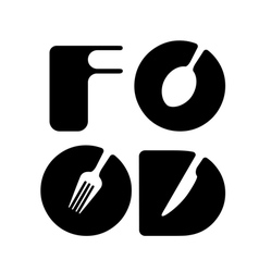 Creative food menu word logo element vector