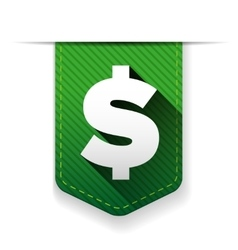 Dollar sign green icon ribbon vector