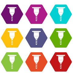 Drill bit icon set color hexahedron vector