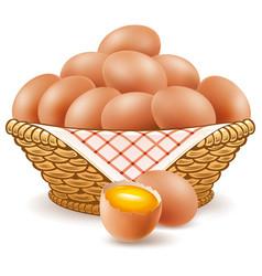 Eggs in basket with broken yolk vector