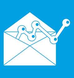 Envellope with graph icon white vector