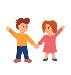 flat style cartoon little kids holding vector image