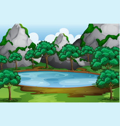 Forest scene with trees around the pond vector