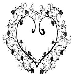 Frame flourishes heart vector