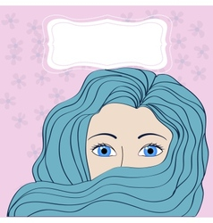 girl with blue hair with banner vector image vector image