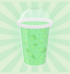 Green detox drink healthy smoothie flat style vector