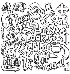 Hand-drawn arrow doodles vector image vector image