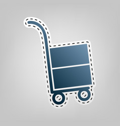 Hand truck sign blue icon with outline vector