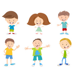 happy cartoon children set vector image vector image