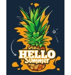 Hello summer fruit background with tropical vector image