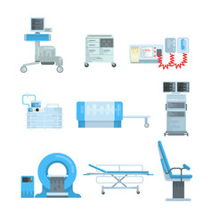 Innovational medical diagnostic equipment set of vector