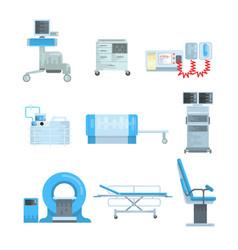 Innovational medical diagnostic equipment set of vector