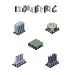 Isometric building set of company tower water vector