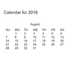 Modern calendar for august 2016 vector