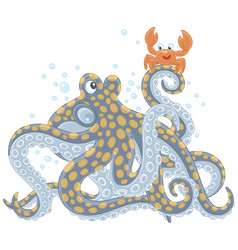 octopus and crab vector image