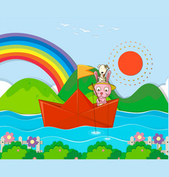 Rabbit fishing in paperboat in the river vector