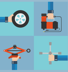 repair of automobile wheels flat design vector image vector image