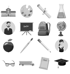 School icons set gray monochrome style vector image