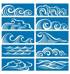set of waves vector image vector image