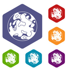 Small planet icons set hexagon vector