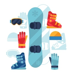 Snowboard equipment icons set in flat design style vector image
