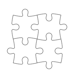 Solved jigsaw puzzle of four pieces vector
