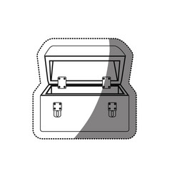 Sticker monochrome contour with tool box vector