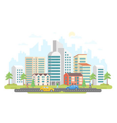 Streetscape - modern colorful flat design style vector