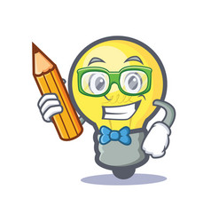 Student light bulb character cartoon with pencil vector