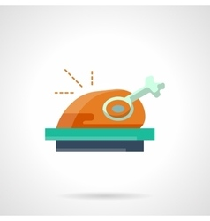 Stylish flat color roasted poultry icon vector