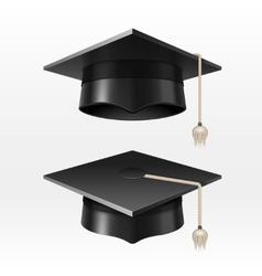 University academic graduation caps with tassel vector