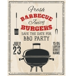 Vintage barbecue party invitation vector image vector image