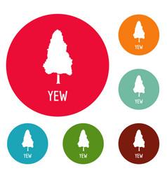Yew tree icons circle set vector