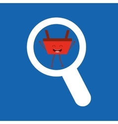 Basket red commerce searching icon vector