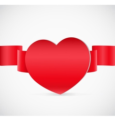 Valentines day greeting card with red heart vector image