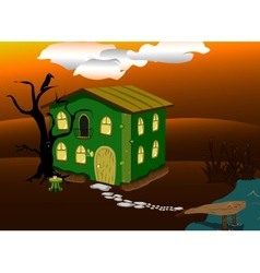 Fantastic green lodge at night vector